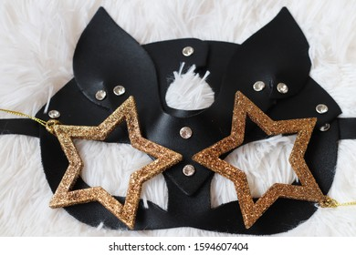 Cat sexy fashion mask made of leather with rhinestones and golden stars