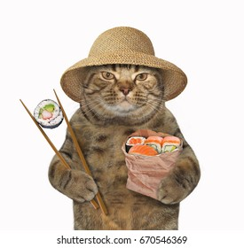 The cat in the straw hat is holding a paper bag of sushi and chopsticks . White background.