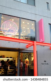 Cat street, Harajuku, Tokyo/ Japan - December 2017: Paul Smith, the British fashion designer, his 70 countries stores are recognized the uniqueness, eccentricity and much-photographed vibrant