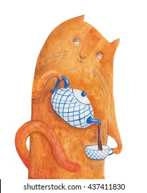Cat with teapot and cup of tea. Watercolor illustration. Hand drawing