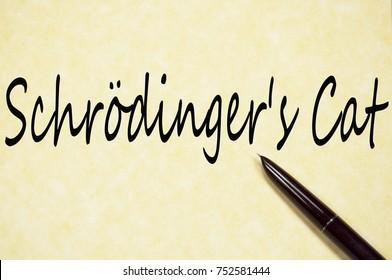 Schrodinger's cat text write on paper