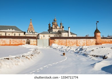 Cat trail to the historic Monastery of Archangel Michael in Yuryev-Polsky, Russia