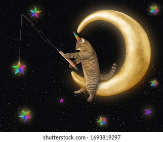 The cat unicorn is catchting space stars with a fishing rod on the comfortable moon.