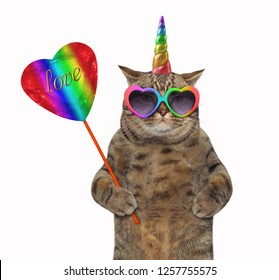 """The cat unicorn in rainbow sunglasses is holding a crystal heart on a stick with gold inscription """" love """". White background."""