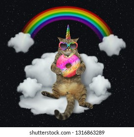 The cat unicorn in sunglasses with a color donut is sitting on the cloud like a couch. The rainbow is behind him. Stars background.