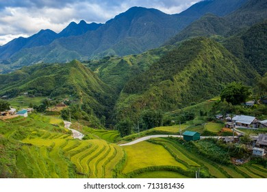 Cat Cat Village of Sapa, Lao Cai Province, Northwest Vietnam.Amazing view.Terraced rice field landscape near Sapa.
