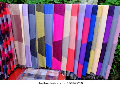 Cat Cat Village, Vietnam - September 14 : Scarf products are souvenir item sell at roadside in the area on the September 14, 2017  in  Cat Cat Village Vietnam. Editorial documetary image.