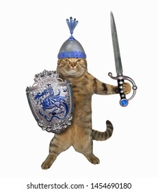 The cat warrior in a helmet with feathers holds a shield with a dragon and a sword with a sapphire. White background. Isolated.