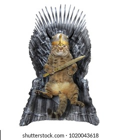 The cat warrior is sitting on an iron throne. White background.