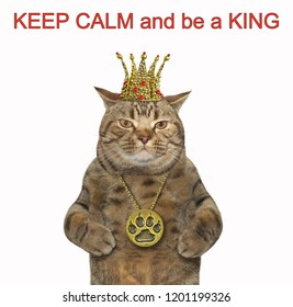 The cat is wearing a crown and a locket. Keep calm and be a king. White background.