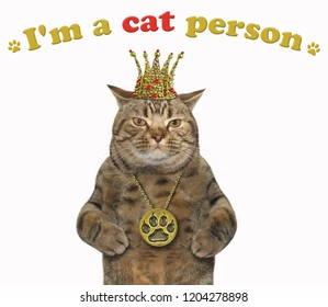The cat is wearing a crown and a locket. I'm a cat person. White background.