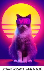 Cat wearing virtual reality goggles wireless headset. VR videogame experience in 80's synth wave and retro vaporwave futuristic aesthetics.