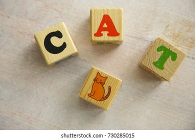 Cat Word Written in wooden cube. White wooden table. Cat cube. Soft daylight