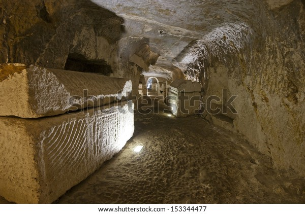 the catacombs of Beit Shearim, an ancient jewish necropolis in Israel