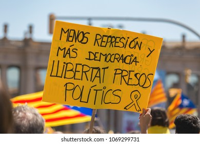 Catalan demonstrators with national catalan symbols in Barcelona to support the freedom of the political prisoners.More than 300.000 people have participated. 04. 16. 2018 Spain, Barcelona