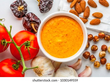 Catalan food. Romesco sauce, typical from Catalonia, Spain. Prepared with nora peppers, almonds, hazelnuts, garlic and tomato.