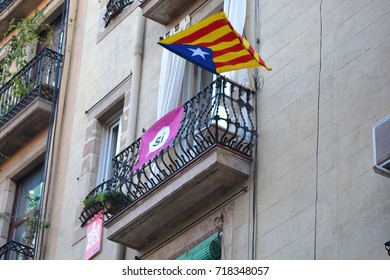 Catalan separatist flags around the city. Waiting for 2017 referendum the 1st of October