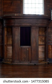 Cataldo, Idaho July 14, 2019 Coeur d'Alene's Old Mission State Park Mission Interior confessional