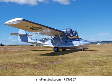 Catalina flying boat parked at an airfield