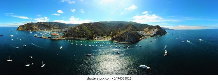 Catalina Island California aerial panoramic view
