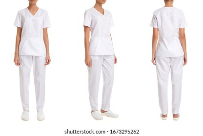Catalog of medical clothes on a girl model, nurse, doctor, white trouser suit, front view three quarters and back, isolated on white background