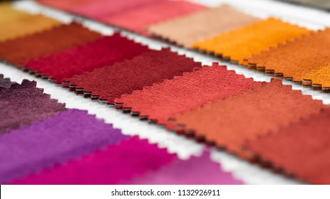 Catalog of multicolored cloth from matting fabric texture background, suede fabric texture, textile industry background with blurred, Colored cotton fabric,Macro, tissue catalog