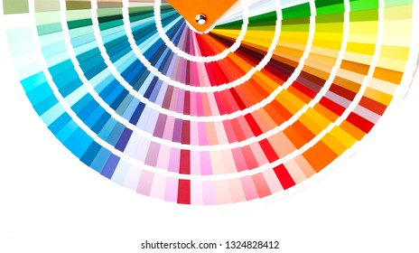 The catalog of paints with a various color palette. On a white background