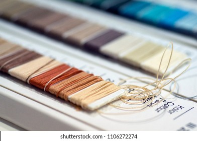 catalog of threads. Multicolored furniture threads. Textile industry background with blurred. Macro, concept of design