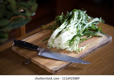 Catalonia chicory or puntarelle in Italian, on wooden board with knife. This type of chicory is a traditional vegetable used in the roman cuisine.