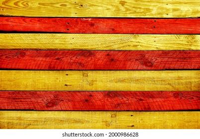 drapeau de la catalogne peint sur fond doré