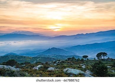 Catalonia mountains at sunset