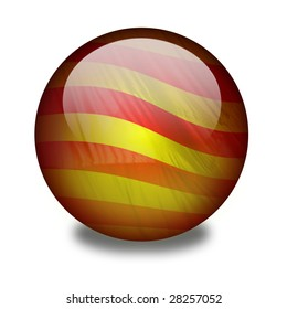 Catalonia. A shiny orb or sphere with a flag inside. Catalonia flag inside. Clipping path with the orb (without the drop shadow) included.