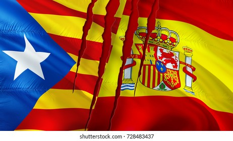 Catalonia and Spain flags with scar concept. Waving flag 3D rendering. Catalonia and Barcelona referendum of independence concept. Catalonia and Spain conflict concept.