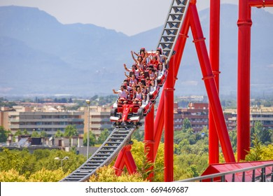 CATALONIA SPAIN - JUNE 2017: Europe's newest theme park Ferrari Land, just an hour and a half down the sunny beach-lined coast from Barcelona. Part of PortAventura, Spain's most popular amusement park