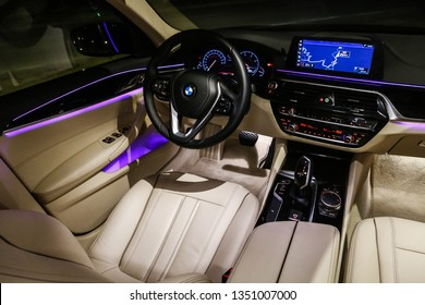 Catalonia, Spain - March 8, 2019: Interior of the luxury motor car BMW 520d (G30).