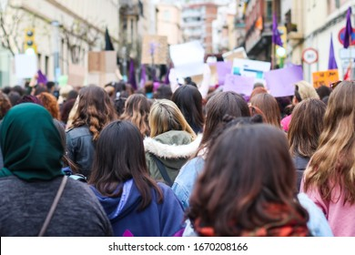 MATARÓ, CATALONIA, SPAIN. November 25, 2018. Demonstration of Women's Day. General feminist strike. Women and feminist banners. Fight for women's rights.
