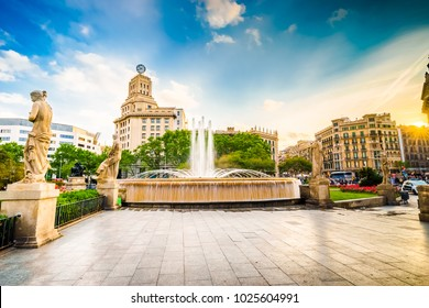 Catalonia square - centre of Barcelona at sunset