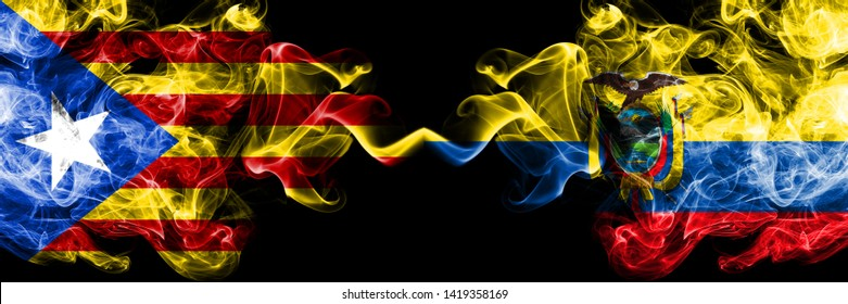 Catalonia vs Ecuador, Ecuadorian smoke flags placed side by side. Thick colored silky smoke flags of Catalonia and Ecuador, Ecuadorian
