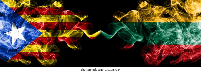 36a41e44cc3 Catalonia vs Lithuania, Lithuanian smoke flags placed side by side. Thick  colored silky smoke