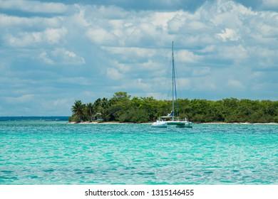 Catamaran at azure water of Caribbean sea