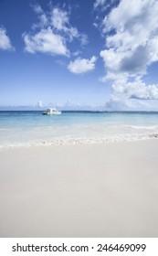 Catamaran Boat Anchored by Beach in Punta Cana Dominican Republic