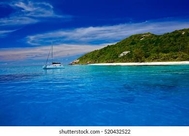 Catamaran at the island of Aride, Seychelles