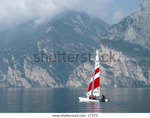 Catamaran on a windless day