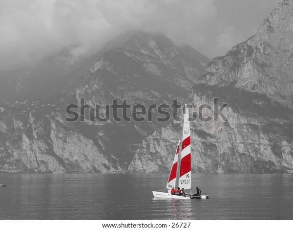 Catamaran on a windless day B & W