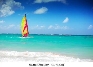 catamaran sailing in the caribbean sea, dominican republic