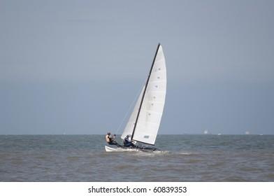 Catamaran sailing at sea
