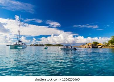 Catamaran and ship near Felicite Island, Seychelles