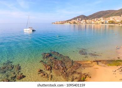 Catamaran yacht at anchor,