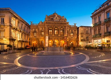 Catania - April 2019, Sicily, Italy: View of The Bellini Theater (Teatro Massimo Bellini) in the evening. An Opera House in the famous Sicilian City