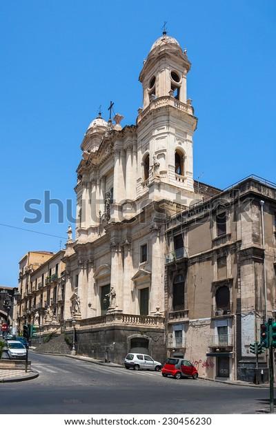 Catania church Santo Francesco and the statue of Cardinale Dusmet, Italy